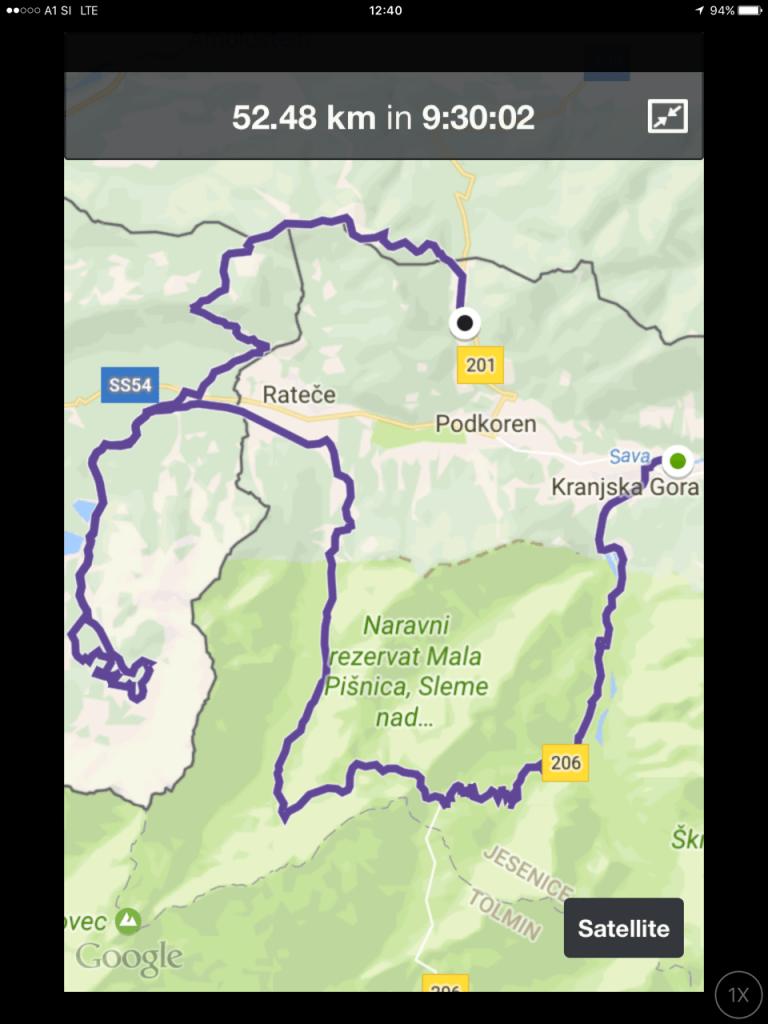 Zemljevid gorski tek 4. vrhovi